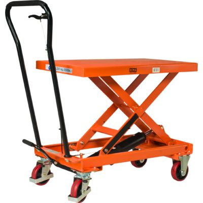 Manually operated mobile lifting table