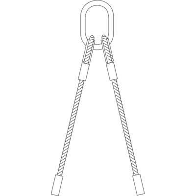 Wire rope slings 2-leg with chain components